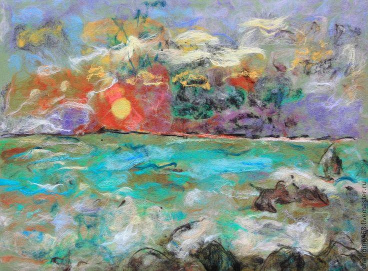 """Купить Работа по мотивам картины Одилона Редона """"Закат"""" - море, морской пейзаж, войлочная картина"""