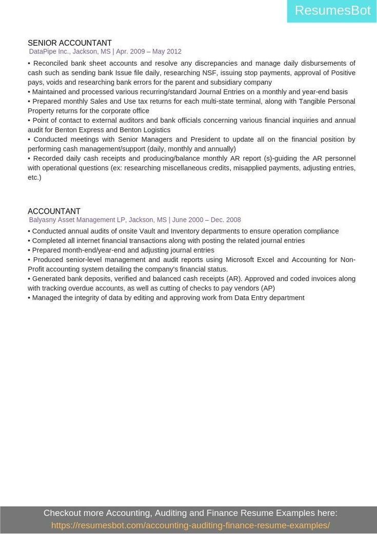 Senior accountant resume samples templates pdfdoc