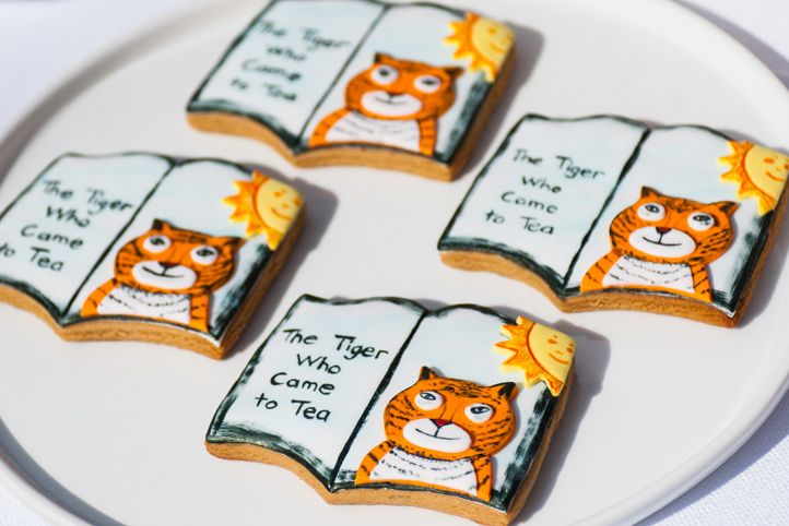 LETTUCE & CO - STYLE. EAT. PLAY 'media launch - the tiger who came to tea' concept design & styling by lettuce & co, themed tiger book cookies