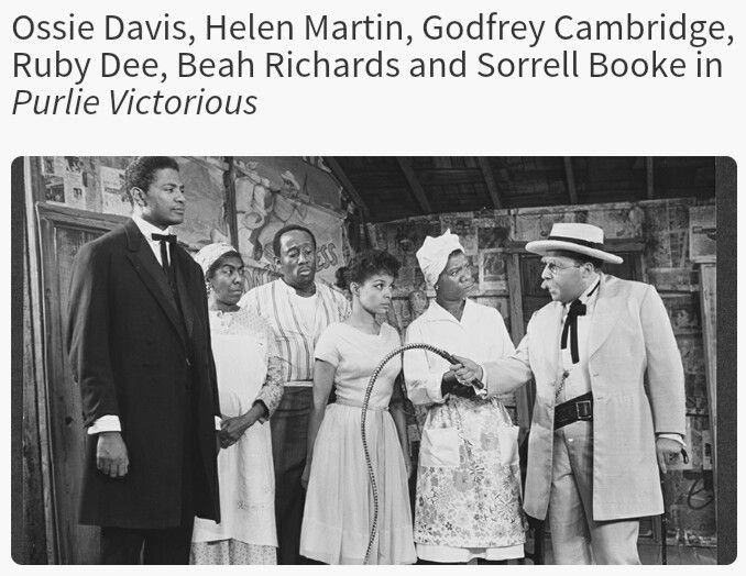 Ossie Davis, Helen Martin, Godfrey Cambridge, Ruby Dee, Beah Richards, and Sorrell Booke in Purlie Victorious on Broadway