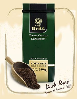 Costa Rica Dark Roast Gourmet Coffee - Café Britt Dark Roast embodies the tradition of gourmet Costa Rican coffee. Aged red wine, figs and dried fruits mellow its robust aroma. Its full-bodied flavor hints of dark chocolate and makes for an intense taste sensation. This classic blend takes its leave with distinction and elegance.