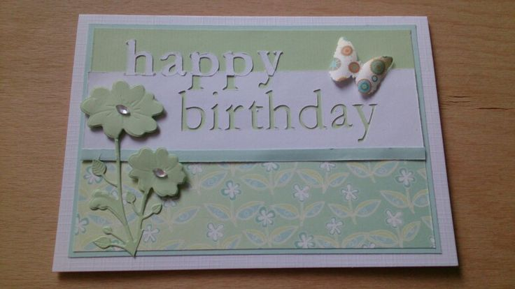 "Happy birthday card. Text made using the Silhouette Cameo. Die from memory box ""kirby blooms"" and butterfly from Martha Stewart."