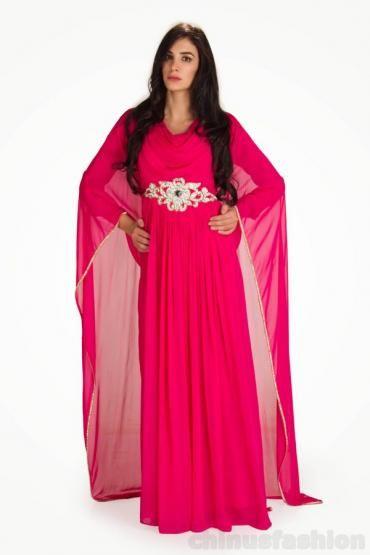 Kalila Pink Chiffon Gown Style Kaftan #pinkdress #kaftan