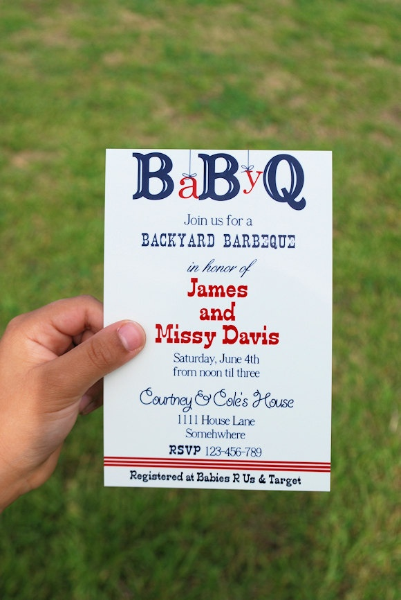 Printable Baby Shower BBQ Invitation. $12.00, via Etsy.  When I first read this I read babyq. As in barbecuing babies.