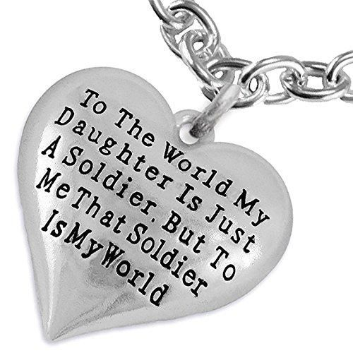 Army, Enlisted Daughter, My Daughter, She Is My World, Necklace, Adjustable Hypoallergenic,Safe