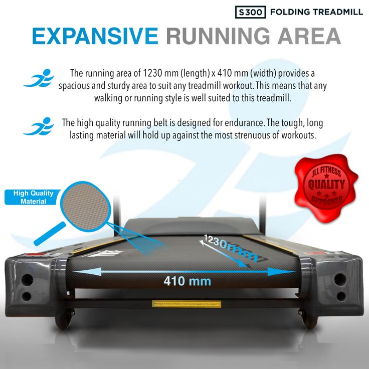S300 Folding Treadmill Motor: DC Continuous Power 2.5 HP (1800W), Peak Power 4.5 HP (3350W) Speed: 0.3-16 km/h = 0.18 - 10 mph Incline: 20 Level Incline (=12% Incline) Running Area: 123 cm (length) x 41 cm (width) / 48 inch x 16 inch Maximum User Weight: 120 kg / 18.8 St / 264 lb. Running Programmes: 15 (you can re-set the 3 first programmes) Entertainment: High Powered Speakers,iPod/iPhone/MP3 Connectivity & USB interface