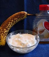Anti-Wrinkle Banana Mask: 1 tablespoon of banana (just break off a hunk), 1 teaspoon of honey, 1 teaspoon of plain yogurt).  Mash & mix in a bowl with a fork.  Apply with your fingers to your face, let dry for 20-30 mins, and wash of with a clean, warm washcloth.  Unused portion can be saved in the fridge for up to 3 days.