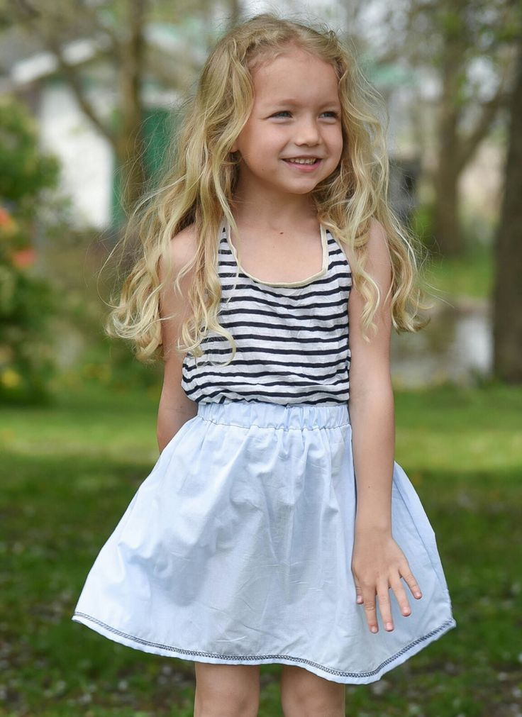 Girl High hips short skirt and stripes  tank top baby and toddler 0-6 www.lezalie.com canadian store