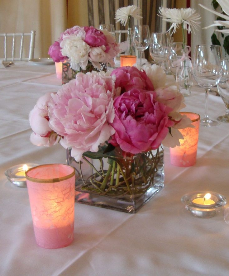 Yet another beautiful pink peonies centerpiece for a girls baby shower