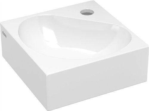 Clou Flush 5 hoekfontein met kraangat en plug wit keramiek B27xH10xD27cm - CL/03.03050 - Sanitairwinkel.nl