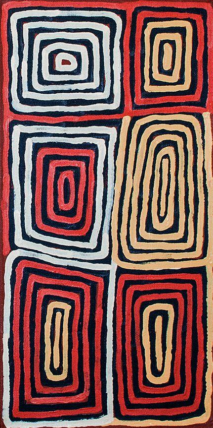 Titre de l'œuvre : Sans titre Format : 61 x 31cm Provenance et certificat : centre d'art de Papunya Tula Référence de la peinture : RT1403013 Demander le prix de l'œuvre