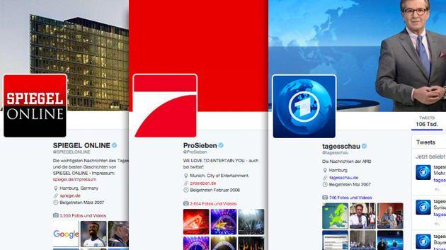 TWITTER GERMANY. TOP 10 LIST. Drei Aufsteiger in den Twitter-Charts: Spiegel Online, ProSieben und die tagesschau