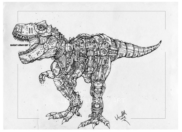 #Tyrannosaurus rex/Author Aleksey Lubimov. #alekseylubimov_art #алексейлюбимовбиомеханика #алексейлюбимов #стимпанк #дизельпанк #биомеханика #marchofrobots #steampunk #dieselpunk #biomechanical #lineart #engine #motor #inktober2018 #technodoodling