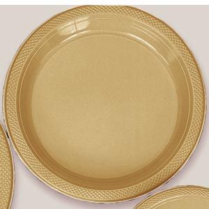 "Plastic Gold Sparkle Dinner Plates. Plastic 10.25"" Dinner Plates Solid ColoursThere are 20 Plastic Dinner Plates per package. They are a LARGE 10.25 inches and come in 22 colours to suit any theme or event. This is a great item if you require a large plate that is stronger than paper."