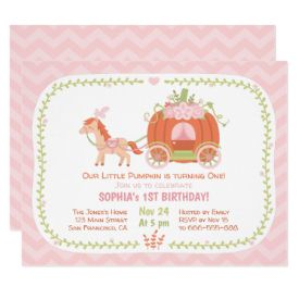 Pumpkin Carriage First Birthday Party Invitations