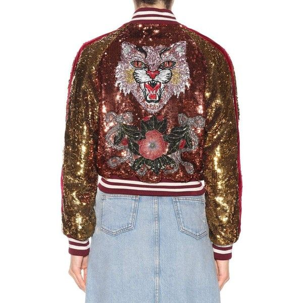 Gucci Sequinned Cotton Varsity Jacket (8 605 AUD) ❤ liked on Polyvore featuring outerwear, jackets, gucci, varsity jackets, colorful sequin jacket, cotton varsity jacket and multi coloured jacket
