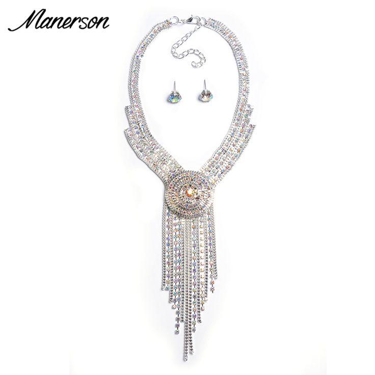Fashion Jewelry Set Women Luxury Crystal Choker Pendant Necklace Earring Choker Collier Femme Long Tassel Statement Accessory