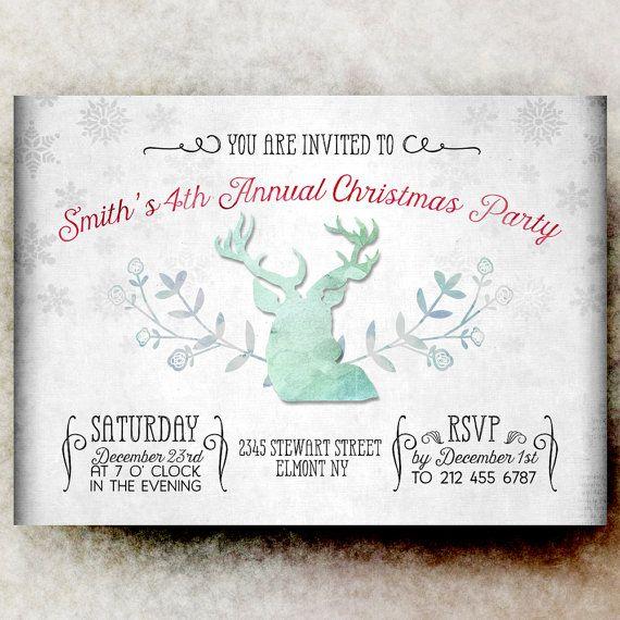 Christmas Party Invitation  Antler Christmas by DivineGiveDigital