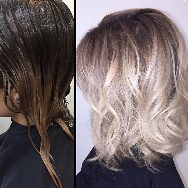 ✨ this client is naturally very dark and maintenance was starting to be too much to keep up with.  but.....she wasn't ready to completely give up on being blonde  so.....I did a  wet on wet  Colormelt using just @redken5thave shades eq to give her a rooty lived in look! #livedinhair