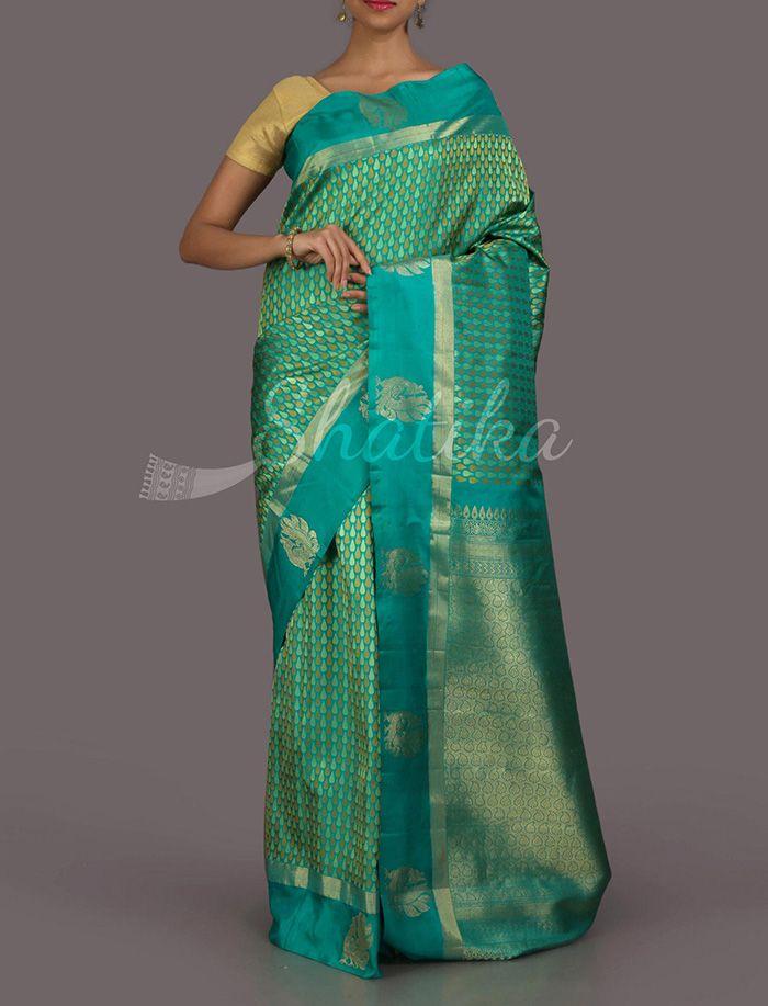 Srinetra Tear Drops In Gold #RealZari #DharmavaramSilkSaree