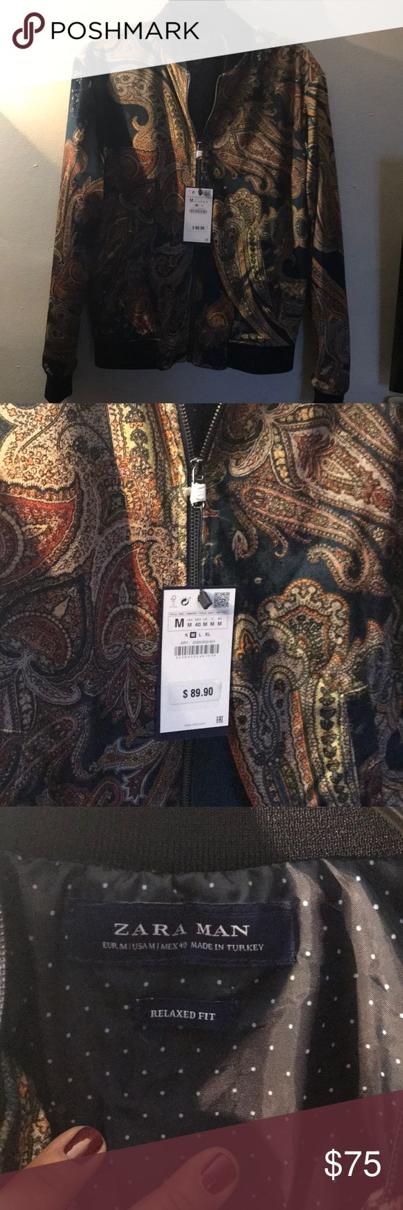 Zara man Jacket Velvet Jacquard Jacket for men size Medium. NWT the color is A dark navy blue with gold. Zara Jackets & Coats Bomber & Varsity