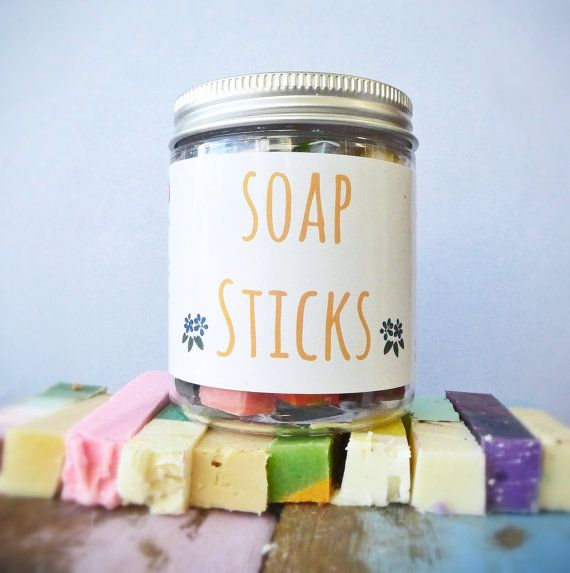 Soap Sticks by CleanseWithBenefits on Etsy, $9.50  10 x mini nifty soap sticks to pop in your bag. Ideal for camping, hiking, travelling, weekends away or after a gym session. In this jar you will receive a selection of sticks from our soap collection. One stick to use in the shower or break one I'm half to wash hands.