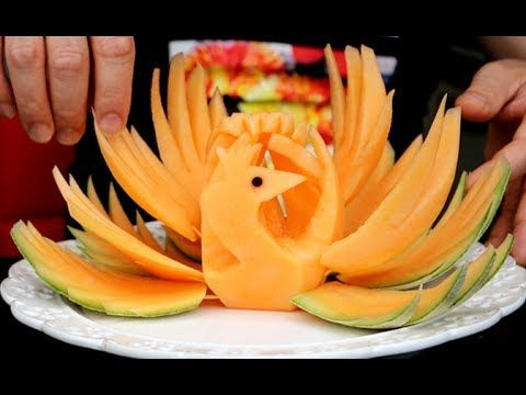 How To Make Honeydew Cantaloupe Peacock - Vegetable Carving - Sushi Garnish - Food Art Decoration - YouTube