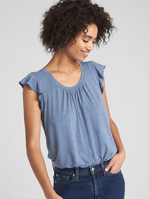 Short Flutter Sleeve Top | Flutter sleeve top, Gap shorts, Women