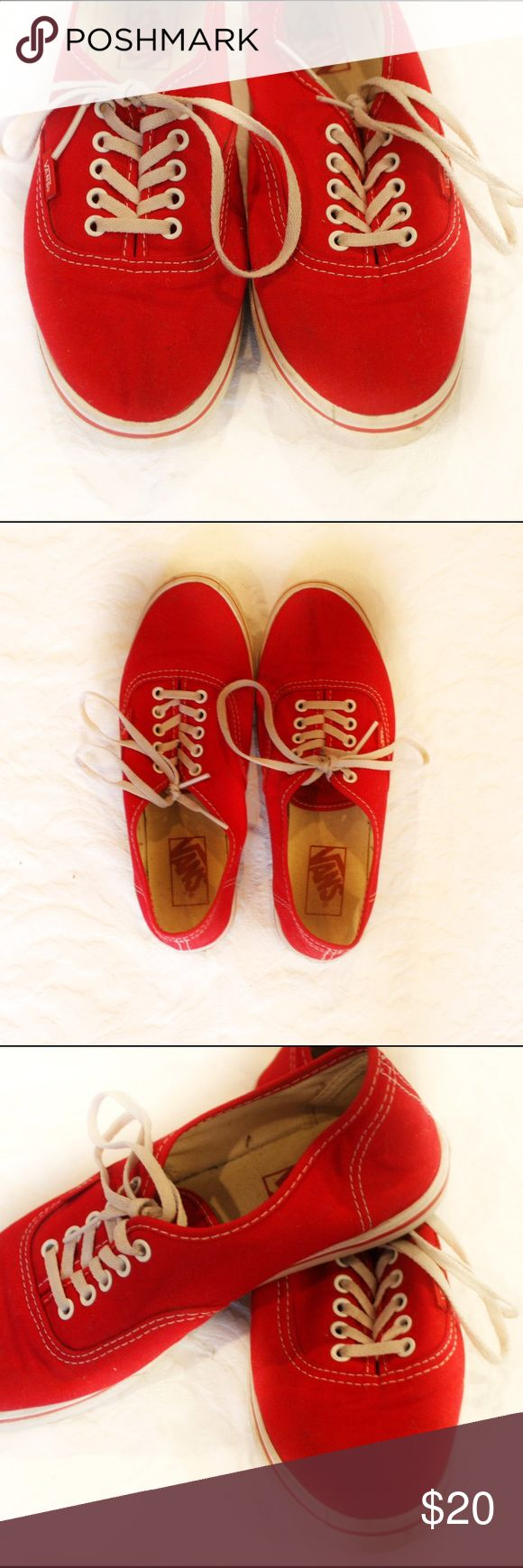 Red Vans This staple is perfect for any closet! These shows have a thin sole, making them less bulky and extremely comfortable! Vans Shoes Sneakers