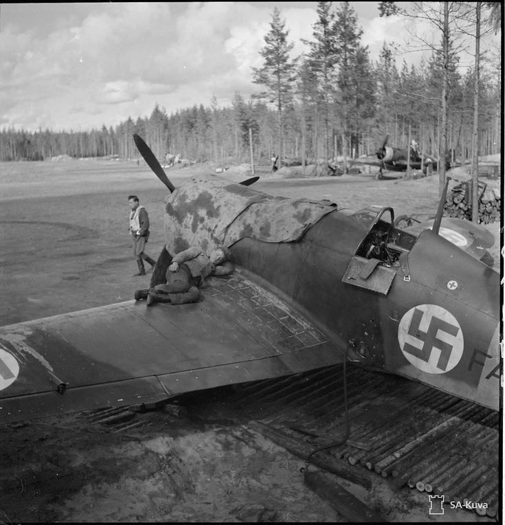 Fiat G.50 fighter aircraft in Finnish service. Rautu, Finland. 31. August 1942. (SA-Kuva)