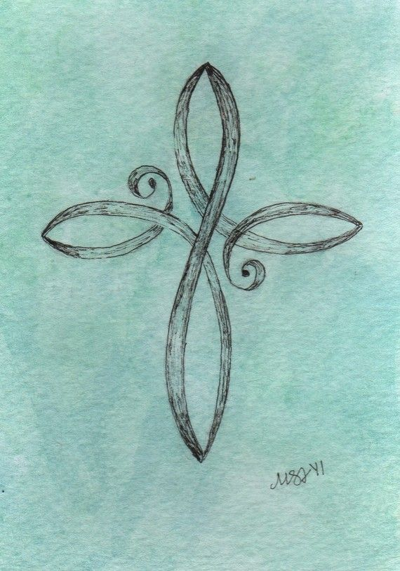 Tattoos    Teal Cross Original watercolor painting 35x5 by EmBoundArt on Etsy, $10.00