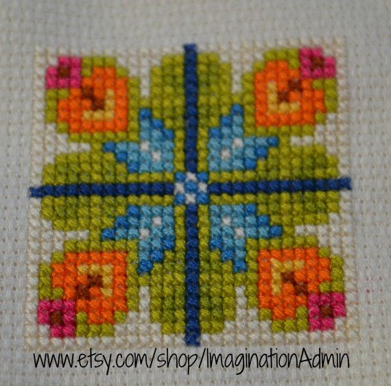 Scandinavian Flower Cross Stitch Pattern, Norwegian Needlework, Modern Flower, Graphic, Geometric Cross Stitch Pattern