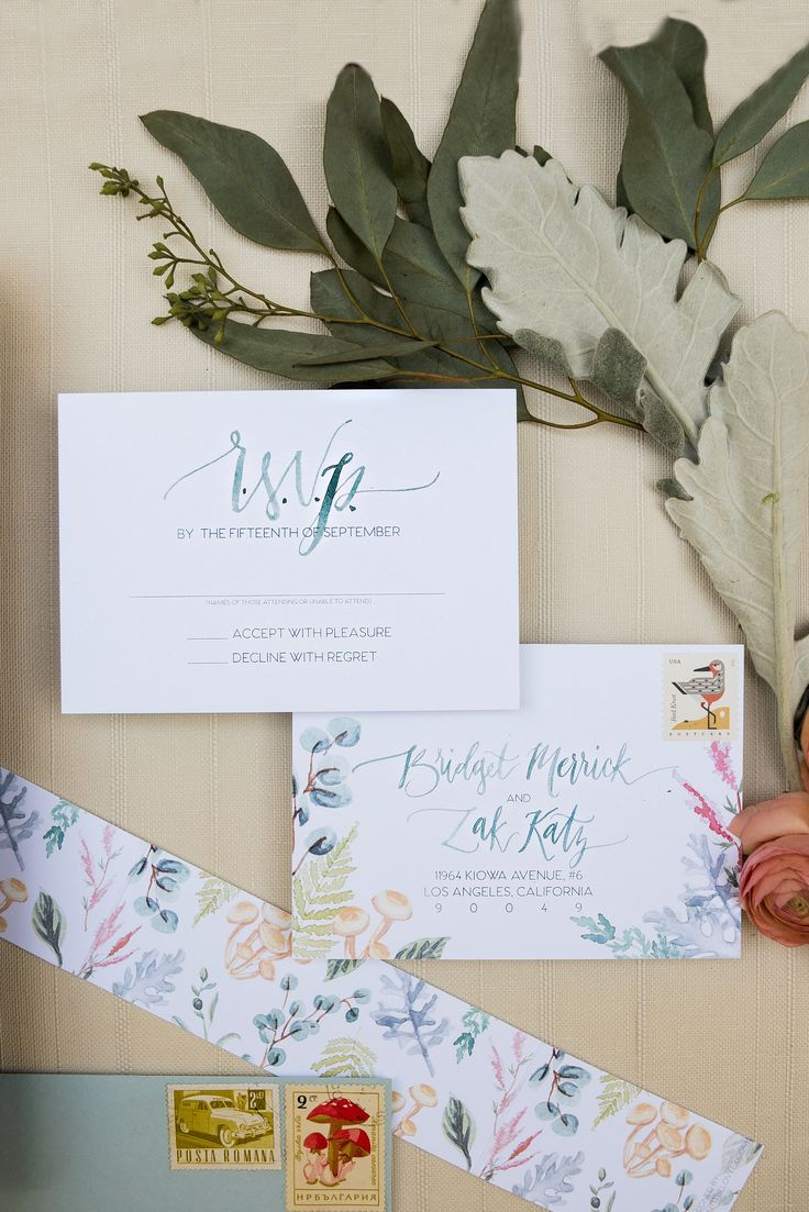 RSVP Postcard Botanical Custom Wedding Invitations Watercolor Plants Bright And Color Fun