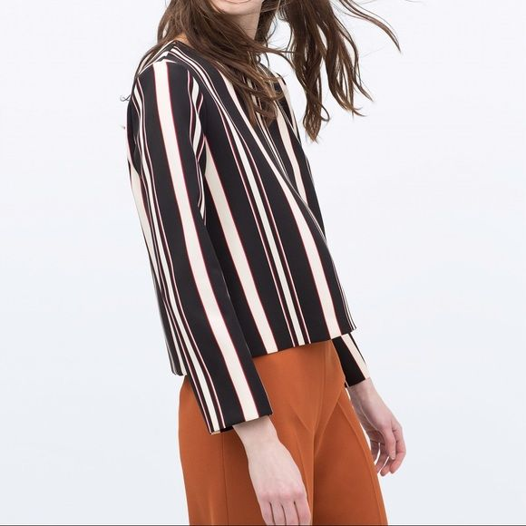 🎈 Cyber Monday Zara colored strip top shirt Stripes are always versatile and loving by everyone. You can wear this to work or to a fancy event. Size S. 90% polyster. 10% elastane Zara Tops