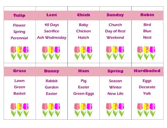 Printable Easter and Spring Taboo Game Cards by PamsPartyPrintables