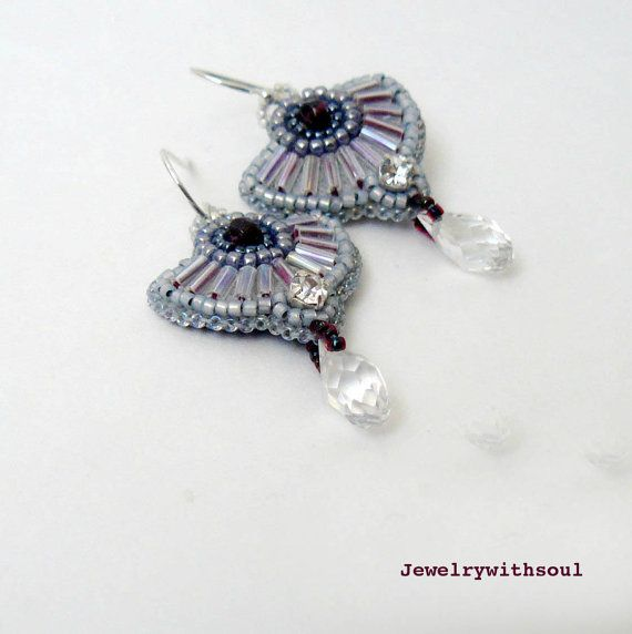 Bead embroidery earrings with garnets and clear door jewelrywithsoul