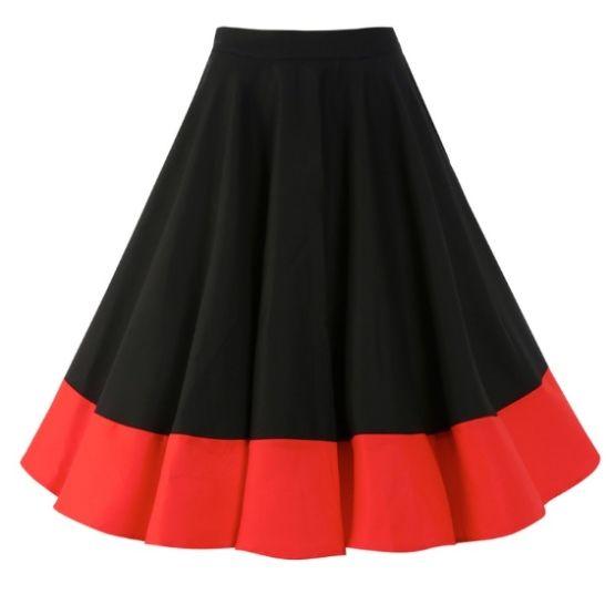 Sukně Lindy Bop Ohlson Black Red Retro sukně ve stylu 50. let. Nádherná kolová sukně vhodná na svatby, párty či jiné společenské akce. Doporučujeme doplnit topem, košilí či body a lodičkami s vyšším podpatkem. Klasická černá s červeným širším lemem ve spodní části z Vás vykouzlí dokonalou dámu. Příjemný pružný materiál (97% bavlna, 3% elastan), boční krytý zip. Pro bohatý objem sukně doporučujeme doplnit spodničkou z naší nabídky v černé či červené barvě.