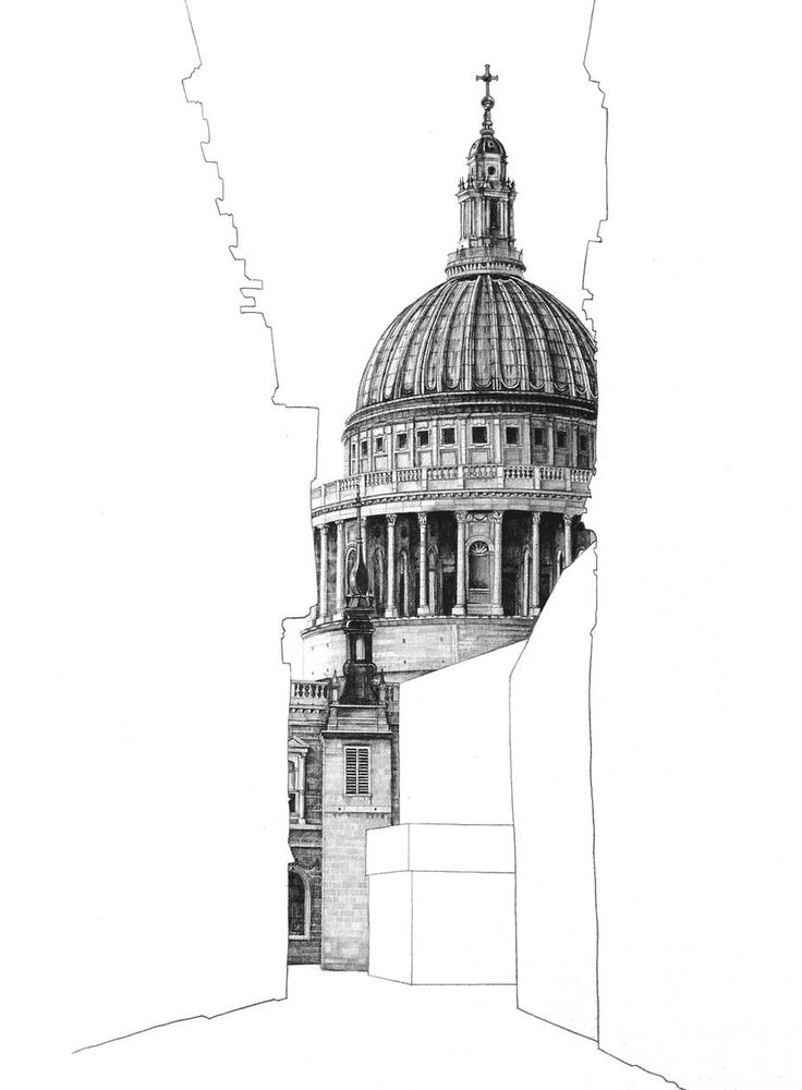 Architectural Drawings Behind Empty Building Silhouettes. Saint Pauls Cathedral.