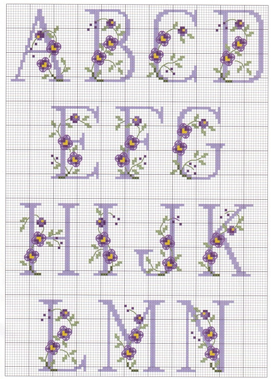 Cross-stitch Alphabet with Flowers, part 1...   no color chart, just use pattern chart as your guide    Gallery.ru / Фото #2 - 9 - elypetrova