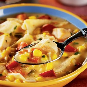 Slow Cooked Creamy Chicken Tortilla Soup    Need: 1C Pace Picante Sauce,2 cans (10 3/4 ounces each) Condensed Crm of Chi Soup, 1lb chi breasts,2C frzn corn,1 can (15oz) blk beans,1 soup can water, 1 tsp gnd cumin, 4 corn tortillas, 1 C shredded cheese,1/3C chopped cilantro