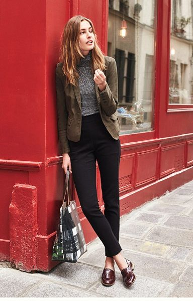 style, fashion, autumn, spring, jeans, loafers, tweed jacket, grey