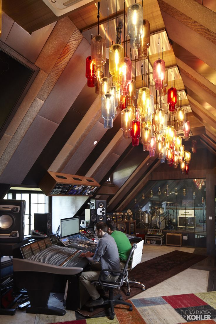 Home Ideas from KOHLER... like the lights in this home recording studio!