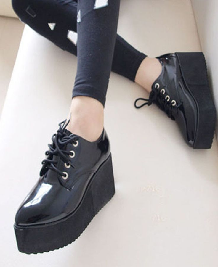 HARAJUKU hot sale PU women pointed toe Creepers platform shoes CREEPER shoes Goth high Platform flat creeper shoes $29.81