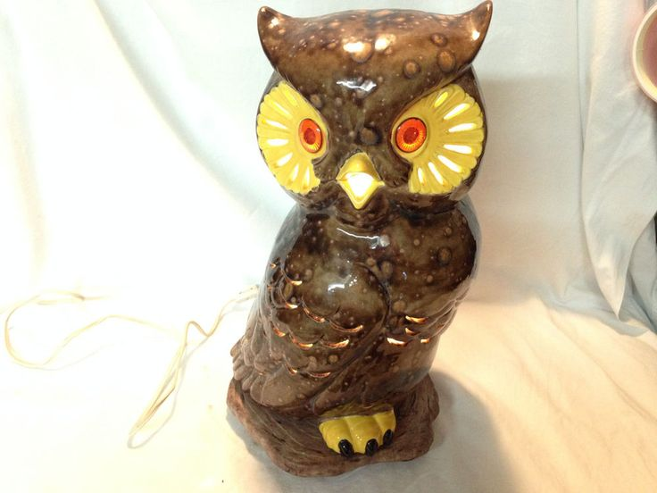 VTG Mid Cent Owl Lamp Brown Speckled Night Light Bird Ceramic Accent