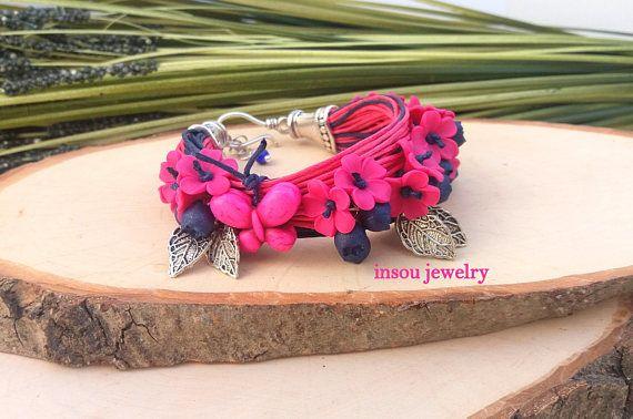 Hot Pink Bracelet Flower Bracelet Boho Bracelet Wrap Bracelet