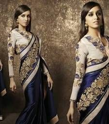 Buy blue embroidered velvet saree with blouse wedding-saree online
