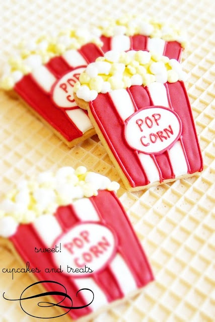 pop corn cookies ~ cute for a circus theme party