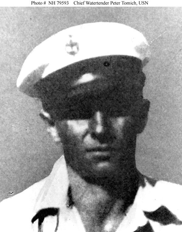 """Chief Water tender Peter Tomich, USN, who was posthumously awarded the Medal of Honor for heroism on board Utah (AG-16) during the 7 December 1941 Japanese air attack on Pearl Harbor. Halftone reproduction, copied from the official publication """"Medal of Honor, 1861-1948, The Navy"""", page 270."""
