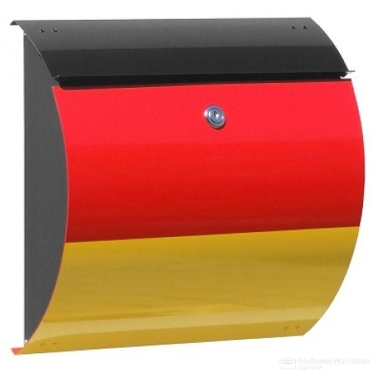 Design Briefkasten Honolulu - Deutschland Edition - schwarz/rot/gelb