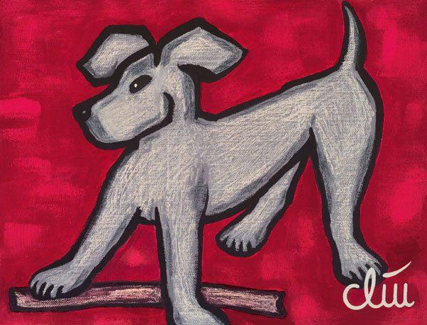 JACQUELINE DITT - Hund auf rotem Grund A4 DRUCK n.Gemälde Bilder Hunde dog Tier